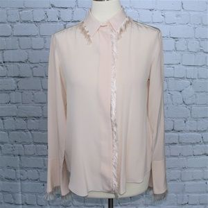 Chloé Cream Fringe Button-down Shirt